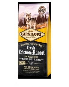 Carnilove ενηλίκων νωπά κοτόπουλο και κουνέλι 12KG + 1.5kg